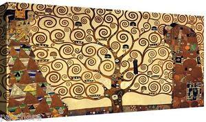 Quadro-Moderno-cm-120x60-stampa-su-tela-Quadri-Moderni-Klimt-Albero-della-Vita