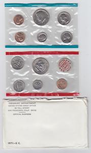 1971 US Mint Set in OGP Envelope 11 Coins P D /& S