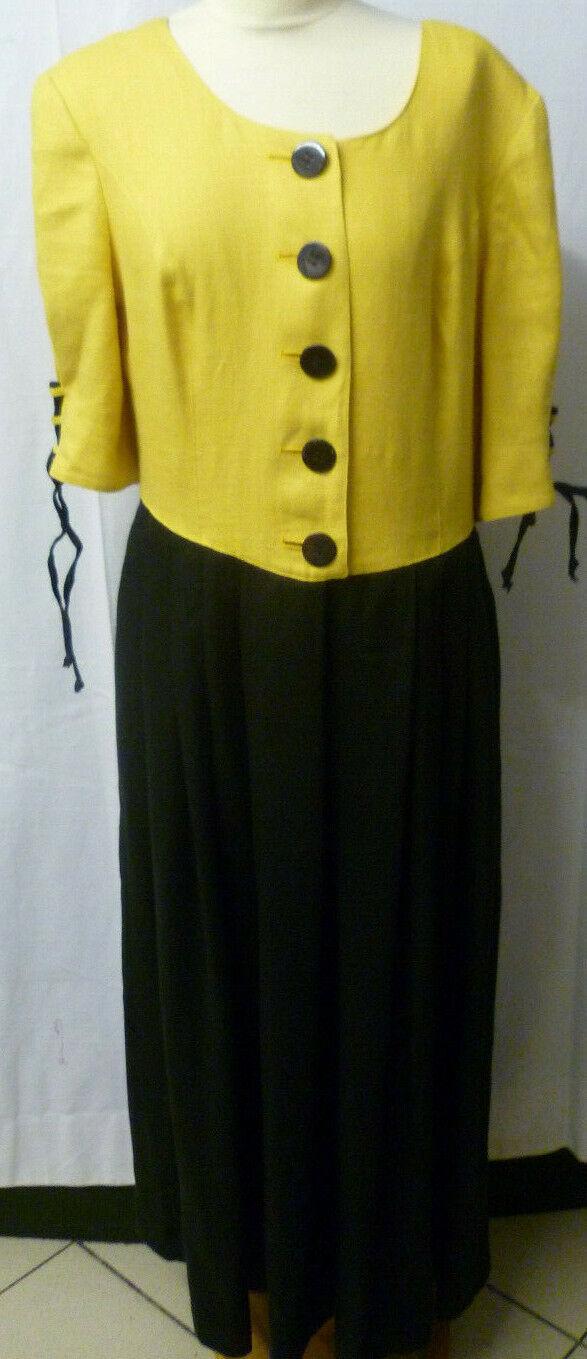 Damen Trachten Kleid Gr. 42 gelb schwarz Leinen