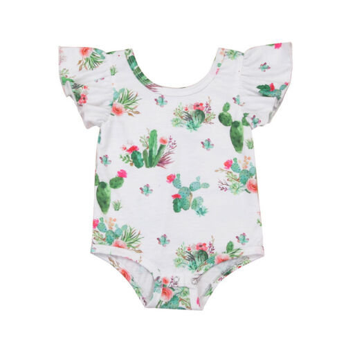 US Newborn Infant Baby Girl Cactus Floral Playsuit Romper Clothes Outfit Sunsuit
