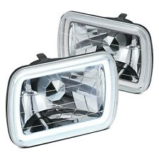 For Ford F 150 78 86 Lumen 7x6 Rectangular Chrome Ccfl Halo Headlights Fits Mustang