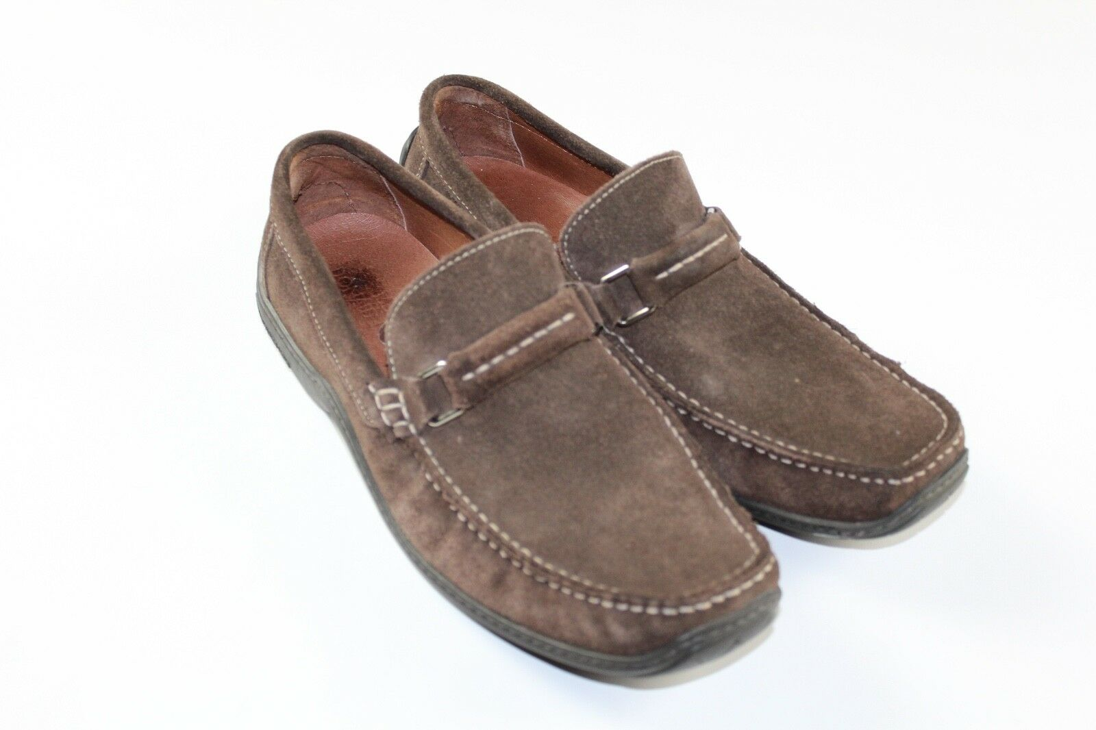 DONALD J PLINER Uomo Size 9 Eincho 23 Suede Slip On Driving Loafers Shoes Brown