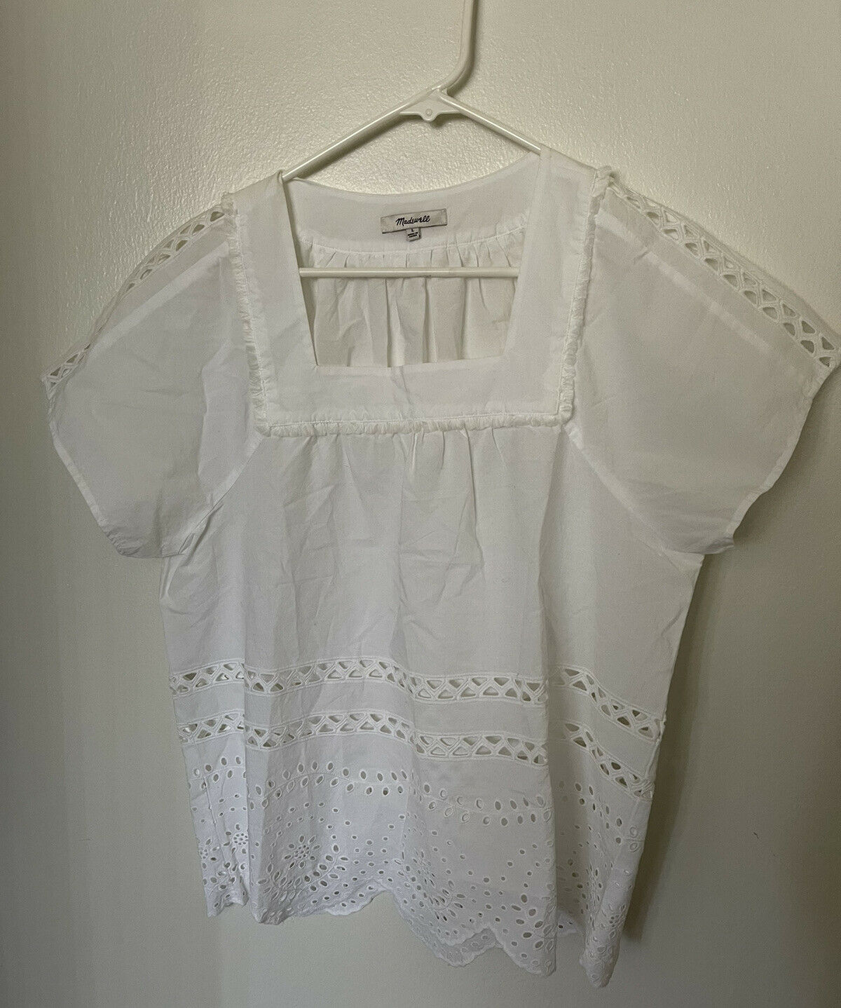 Madewell Top Womens Size L Cotton White Eyelet An… - image 1
