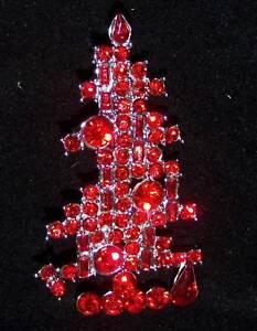 Immagini Natale Usa.A9 Superba Usa Red Crystal Albero Di Natale Spilla Pin Ebay
