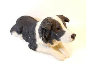 Vintage-Sandicast-Border-Collie-Dog-Sandra-Brue-Original-Glass-Eyes-Figurine