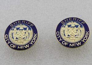 NEW YORK CITY NY sheriff collar pins -golden