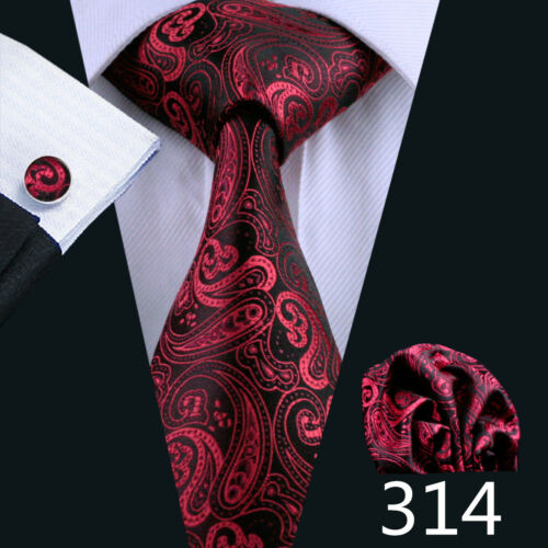 USA Wine Red Burgundy Men Ties Silk Solid Plain Paisley Animal Necktie Set Woven