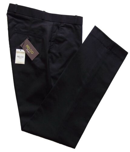 Relco Men/'s Black Sta Press Stay Pressed Mod Skins Ska Crinkle Free Trousers