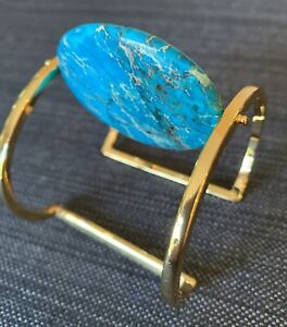 NEST-Gold-Cuff-With-Rotating-Turqouise-Stone-NWOT