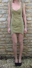 Designer Shakuhachi Silk Linen Military Bandage Bodycon Dress S 8