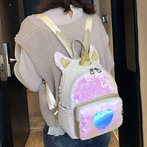 Girls Shiny Sequins School Backpack Glitter Shoulder Unicorn Handbag Rucksack UK