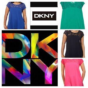 NWT-Women-039-s-DKNY-Fashion-Lace-Trim-Shirt-Short-Sleeve-VARIETY