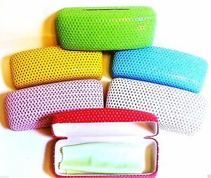 Hard-Sunglass-Eyeglass-Case-Bling-Assorted-Colors-FREE-Cleaning-Cloth-Included