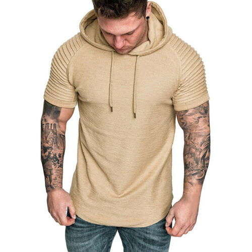 Summer Mens Slim Pleated Short Sleeve Hoodie Hooded Muscle Male T shirts Tops BJ