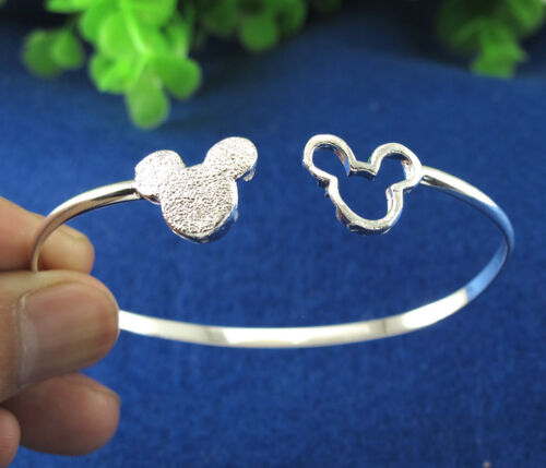 925 Silver Cute Mouse Chic Frosted Thick Charm Cuff Bracelet Bangle Jewelry Gift