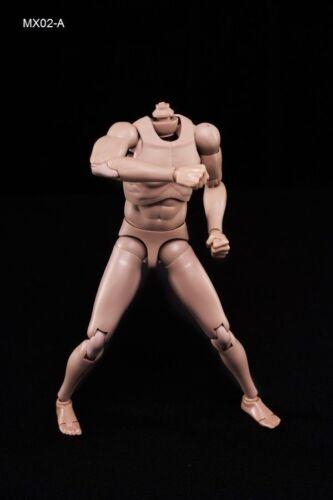 """1//6 Male Body MX02-A Suntan Skin Strong Muscle Model F 12/"""" Figure Head Sculpt"""