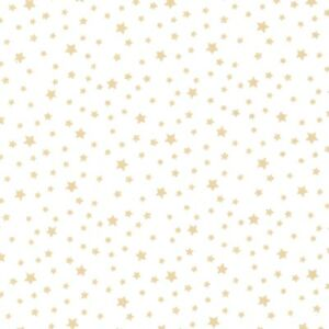 Metallic-Stars-Gold-100-Cotton-Fabric-Childrens-Fables
