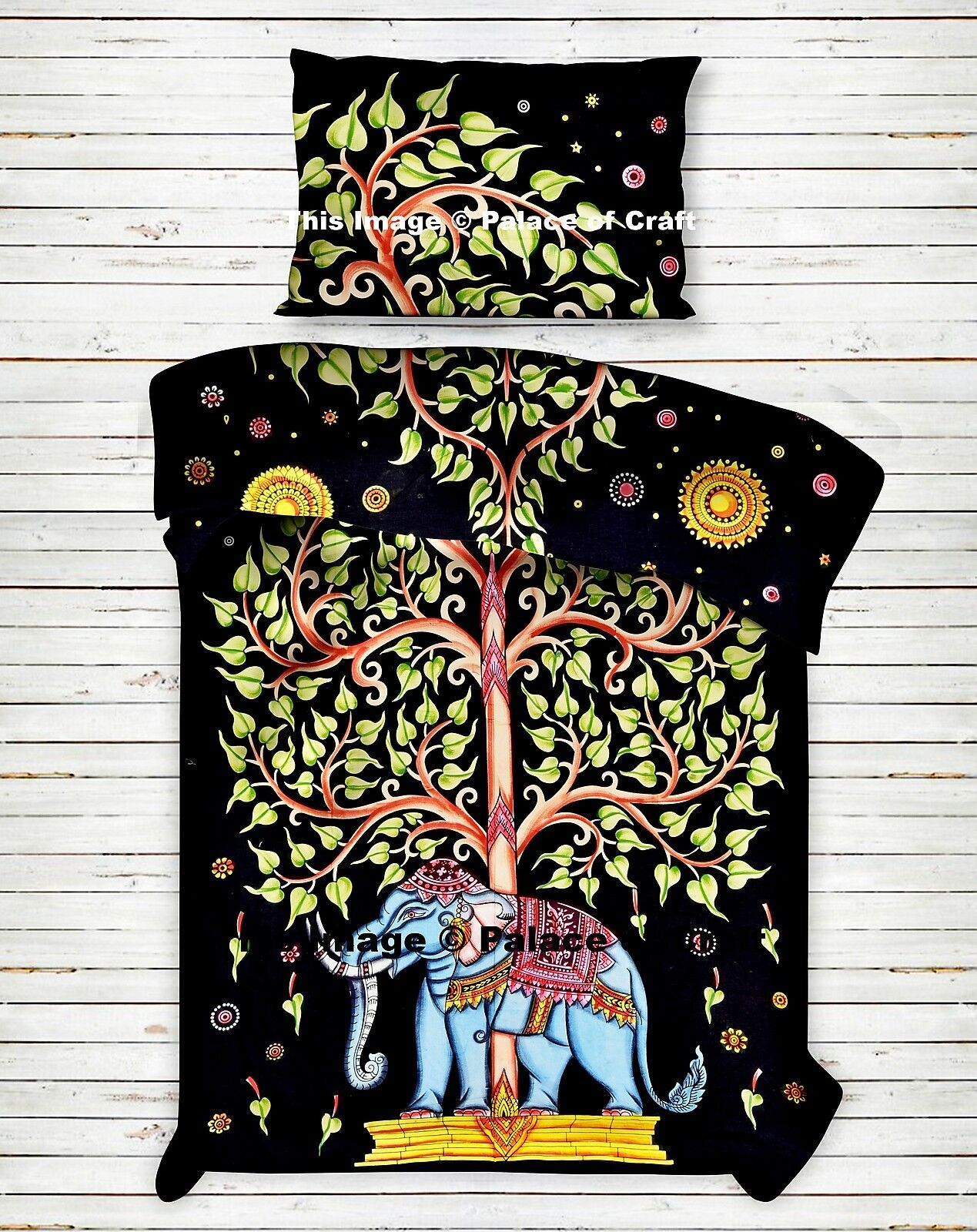 Indian Cotton Elephant Tree Of Life Reversible Duvet Quilt Cover Twin Size Doona