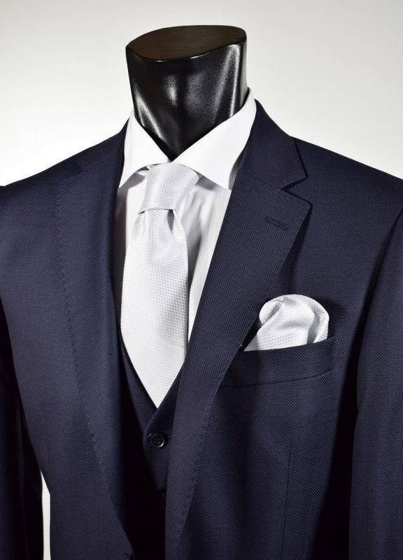 Abito Blu Digel Drop 6 Modern Fit Con Panciotto In Pura Lana Reda Super 110's