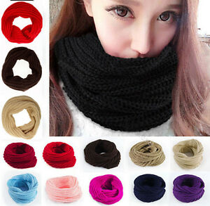 Infinity-1-Circle-Womens-Mens-Winter-Warm-Cable-Knit-Cowl-Neck-Scarf-Shawl