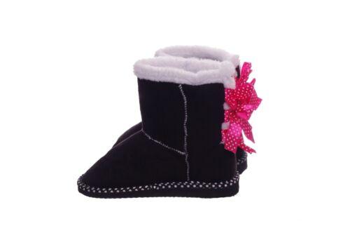 Girls Pink White Black Polka Dot Warm Winter Boots Trendy Cute 11 13 1 2 3 NEW