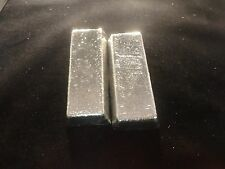 TIN BAR LOT OF 2-INGOTS APPROX 1 POUND  EACH- 2 LBS99.9% PURE-NOT STAMPED-CAST-