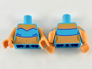 LEGO Minifigure Torso 310 MEDIUM AZURE Female Tube Top Gold Necklace Flesh Ds-Js