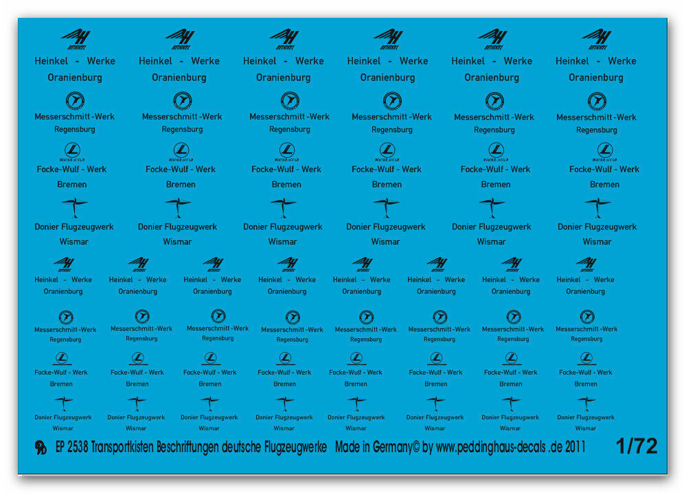 Peddinghaus 2538 1 72 72 72 transporte Rótulo Alemán flugzeugwerke 20343d