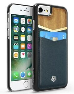 COBBLE-PRO-Wood-Leather-Hard-Wallet-Wood-Dark-Blue-Case-For-iPhone-6-6s-7-8