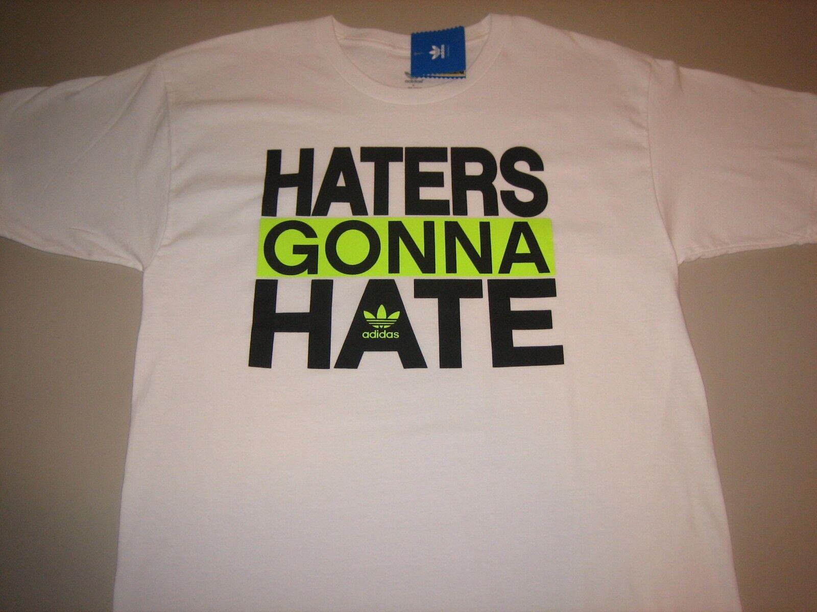 """Adidas Originals """"Hasser, gehst du zu hassen"""" T-Shirt Weiß Herren Medium Large XL 2XL"""