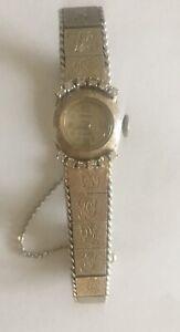 29g-14k-Diamante-Oro-Coronet-Suizo-Floral-Grabado-Reloj-de-Pulsera-No-Recortable