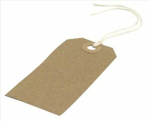 Large Luggage Brown Card Labels Tie On Tags Cotton String Hole Suitcase Holiday
