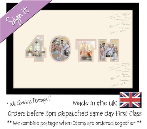 40th Birthday Signing Photo Frame Double Mount Guest Book 872D Photos in a Word