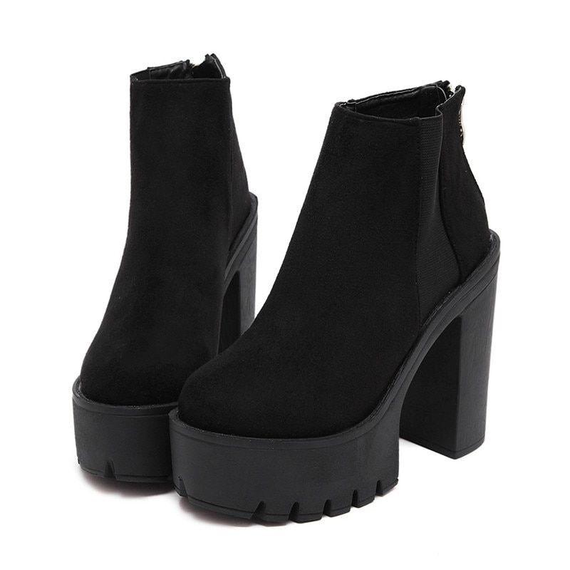 Fashion Black Ankle Boots Women Thick Heels Autumn Flock Platform Zipper shoes