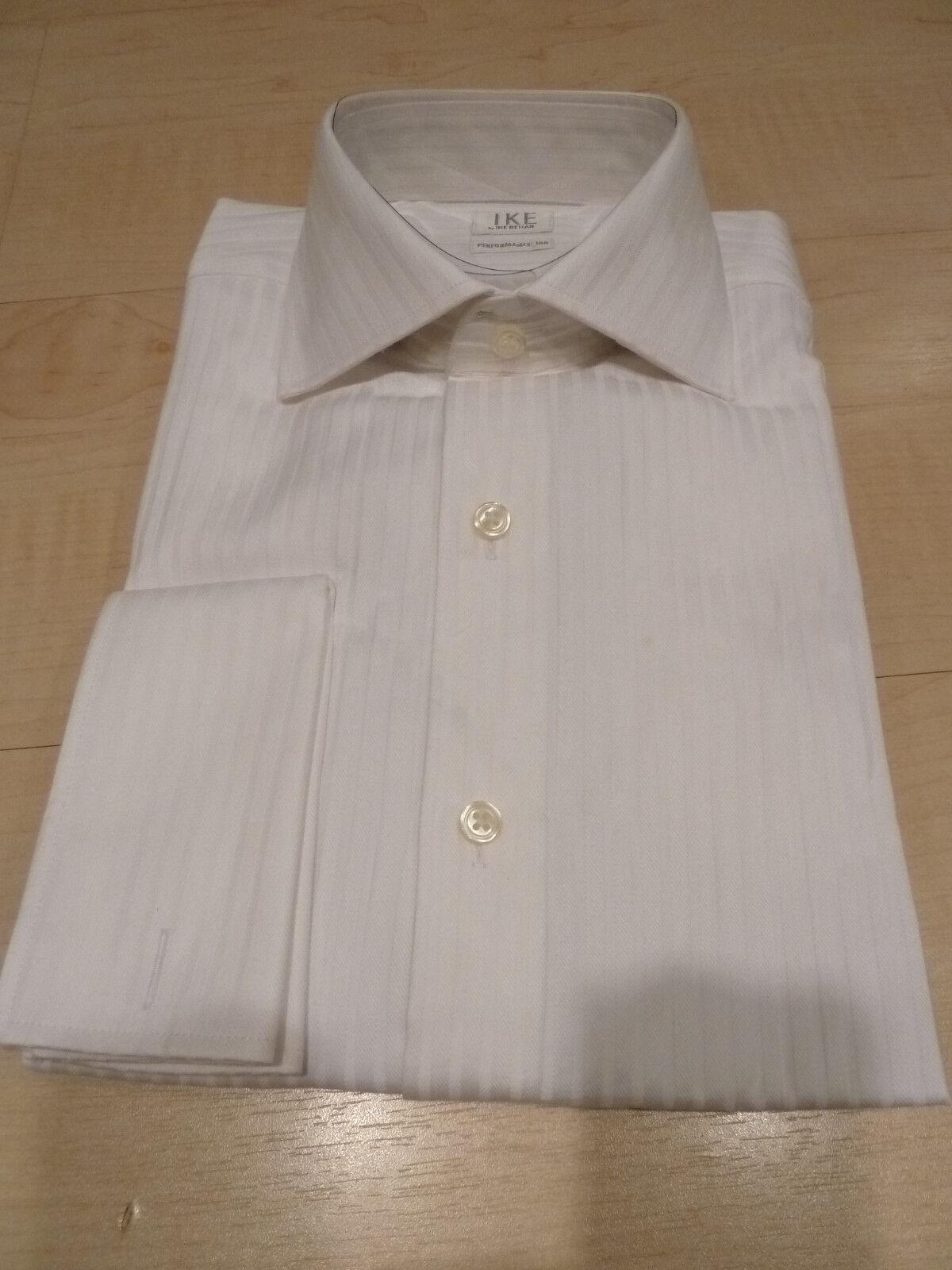 NEW  150+ IKE BEHAR Mens Dress SHIRT 15.5 34 Weiß 100% Cotton FC Perform 100