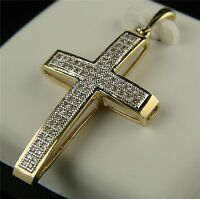 10k Mens Ladies Mini Diamond Cross Charm Pendant .40 Ct on sale