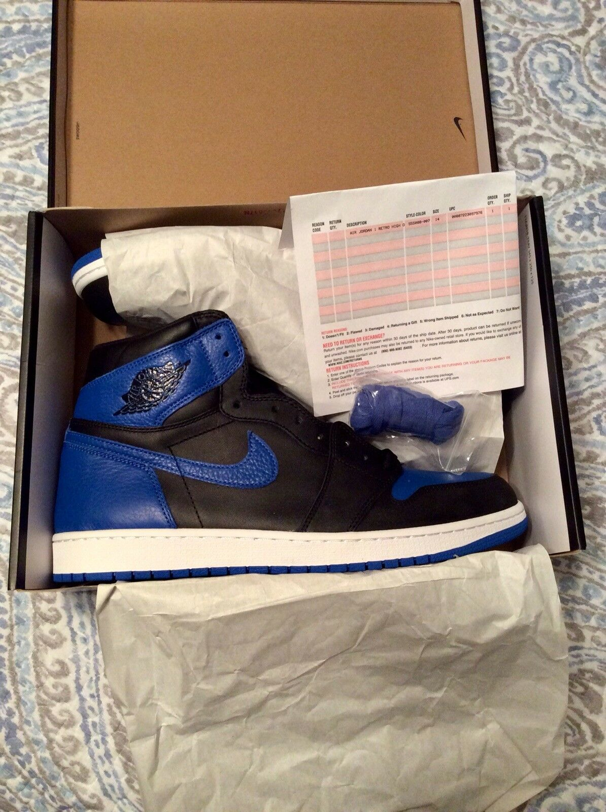 Nike Air Jordan Retro 1 Hi OG Royal bluee DS sz 14 LIMITED SOLD OUT
