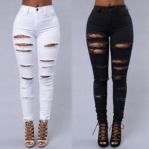 damen zerrissen hautenge jeans schnitt hoher bund jeggings. Black Bedroom Furniture Sets. Home Design Ideas