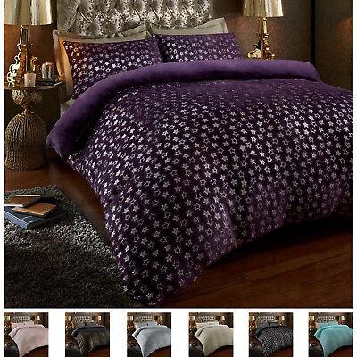 Star Foil Teddy Fleece Luxurious Soft Warm Cosy Duvet
