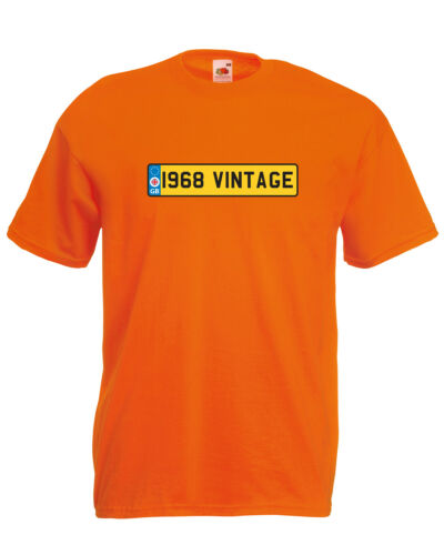 /'1968 Vintage/' Number Plate Birthday Car Graphic Design Quality t-shirt tee m...