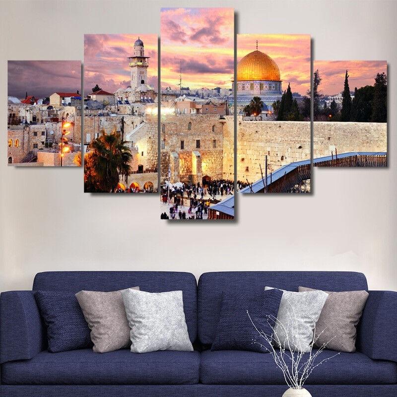 City Of Jerusalem Western Wall Poster 5 Panel Canvas Print Wall Art Home Decor