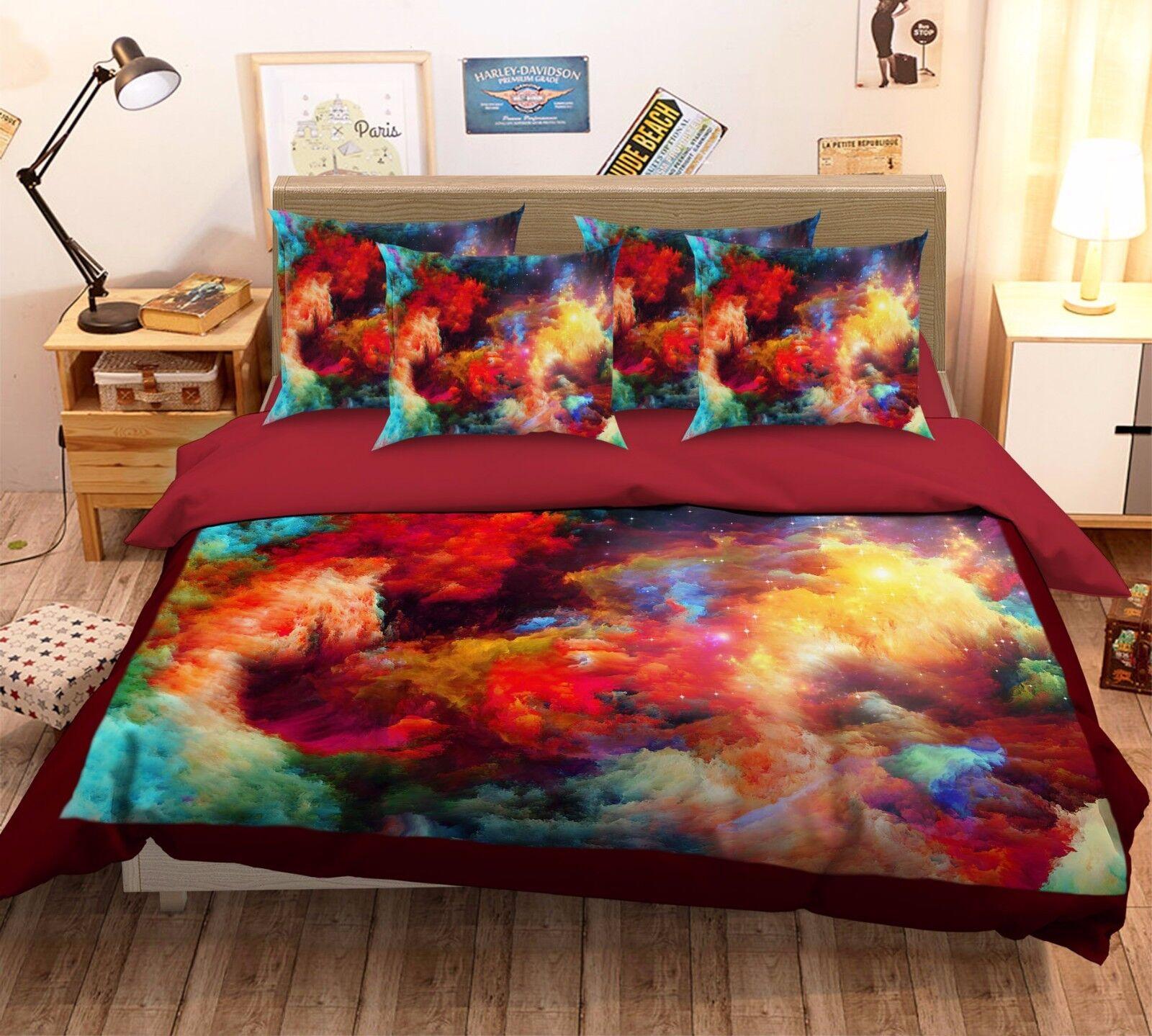 3D Farbeful Clouds 5888 Bett Pillowcases Quilt Duvet Startseite Set Single Königin CA