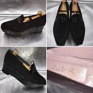 Detalles de ???? Robert Clergerie tamaño 38 5 Negro Zapatos De Cuña Con Plataforma De Cuero De Gamuza Para Mujer ver título original