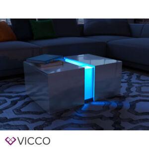 Vicco Led Couchtisch Weiss Hochglanz Loungetisch Wohnzimmer Tisch