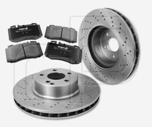2 gelochte Bremsscheiben 4 Bremsbeläge MERCEDES vorne 330 mm belüftet