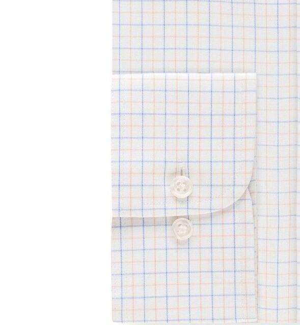$148 EAGLE SHIRTMAKERS Men REGULAR-FIT BLUE WHITE CHECK DRESS SHIRT 14.5 32//33 S