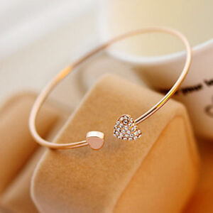 2015 New Fashion Women Style Rhinestone Love Heart Bangle Cuff Bracelet Jewelry