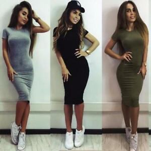 Fashion-Women-Short-Sleeve-Bodycon-Casual-Party-Evening-Cocktail-Mini-Dress-NEW