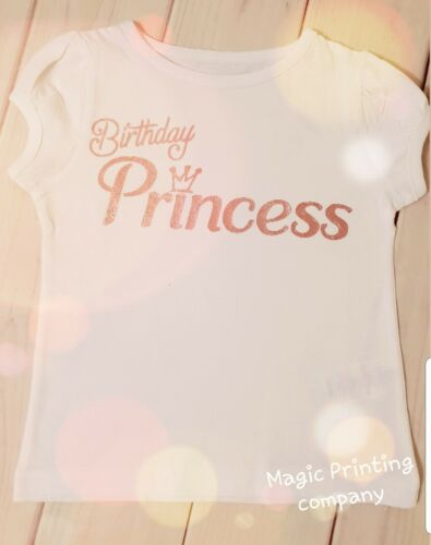 Girls Birthday Princess T-shirt Outfit Rose Gold Top 2nd 3rd 4th 5th 6th 7th 8th