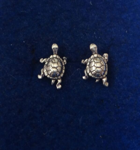 Sterling Silver 11x8mm TINY Box Turtle Tortoise Studs Earrings!